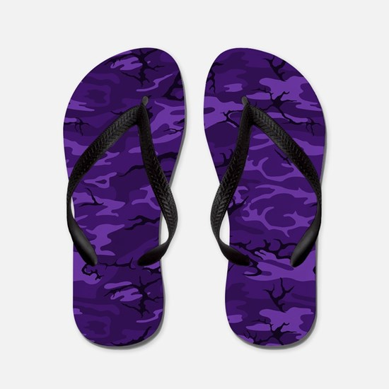 Dark Purple Camouflage Flip Flops