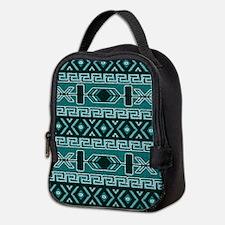 Turquoise Aztec Pattern Neoprene Lunch Bag