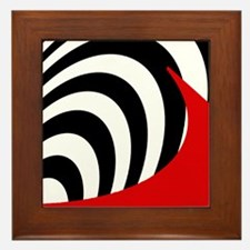 Red Wave Abstract Framed Tile