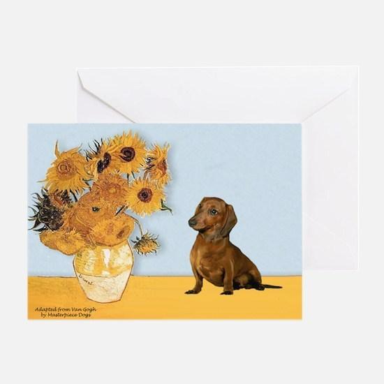 Sunflowres / Dachshund Greeting Card