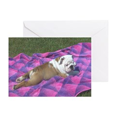 Bulldog Puppy Greeting Cards (Pk of 6)