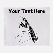 Custom Preying Mantis Silhouette Throw Blanket