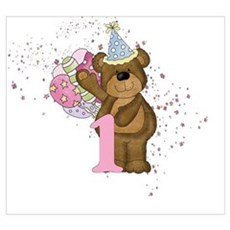 Teddy Bear 1st Birthday Poster
