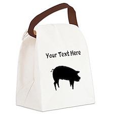 Custom Pig Silhouette Canvas Lunch Bag