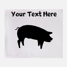 Custom Pig Silhouette Throw Blanket
