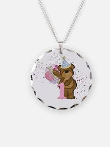 Teddy Bear 1st Birthday Necklace Circle Charm