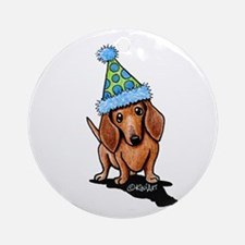 Party Dachshund Round Ornament