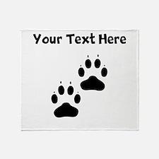 Custom Pawprints Silhouette Throw Blanket