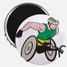 Wheelchair Racer Racing Isolated Magnets
