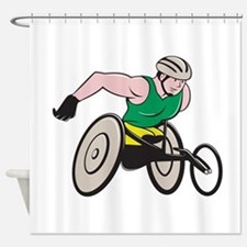 Wheelchair Racer Racing Isolated Shower Curtain