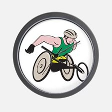 Wheelchair Racer Racing Isolated Wall Clock