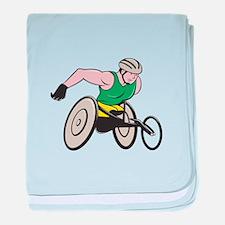 Wheelchair Racer Racing Isolated baby blanket