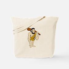 Caveman Neanderthal Man Holding Club Cartoon Tote