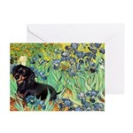 Irises & Dachshund (BT4) Greeting Cards (Pk of 20)