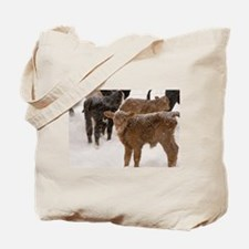 Calves in The Snow Tote Bag