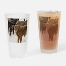 Calves in The Snow Drinking Glass