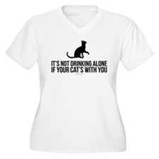 Drinking Alone With Cat Plus Size T-Shirt