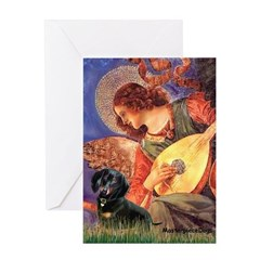 Mandolin Angel & Doxie (BT) Greeting Card