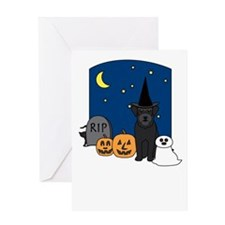Schnauzer Howling Halloween Greeting Card
