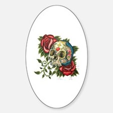 Unique Rose sugar skulls Sticker (Oval)