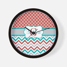 Coral Teal Quatrefoil Chevron Wall Clock