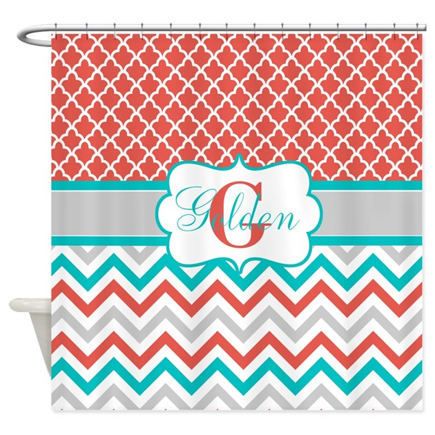 Coral Teal Quatrefoil Chevron Shower Curtain By