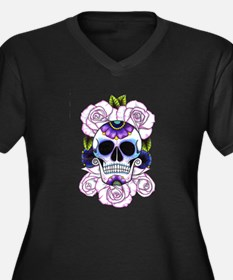 sugar skull and roses Plus Size T-Shirt