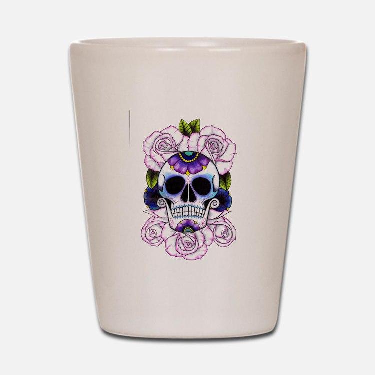 sugar skull and roses Shot Glass