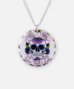 sugar skull and roses Necklace Circle Charm