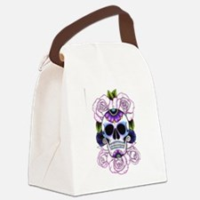 sugar skull and roses Canvas Lunch Bag