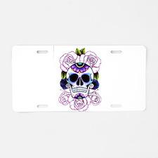sugar skull and roses Aluminum License Plate