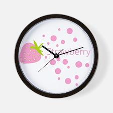 Pink strawberry Wall Clock