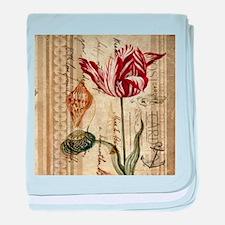 seashells tulip french botanical baby blanket