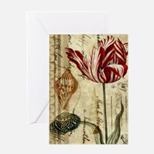 seashells tulip french botanical Greeting Cards