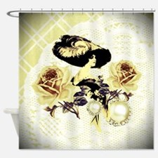 Vintage Lady Yellow Lace & Roses Shower Curtai