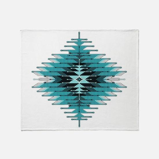Native Style Turquoise Sunburst Throw Blanket