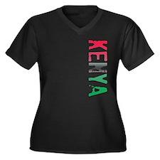 Kenya Women's Plus Size V-Neck Dark T-Shirt
