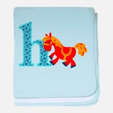 H for Horse baby blanket