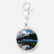 Mt. Rainier Silver Round Charm