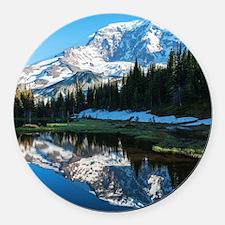 Mt. Rainier Round Car Magnet