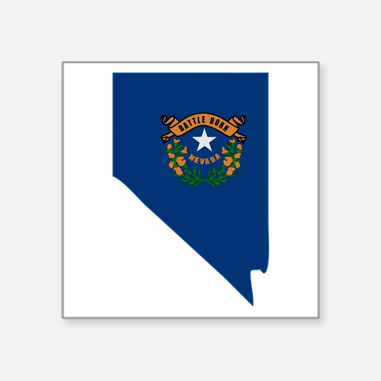 "Cute Silver springs nevada state flag Square Sticker 3"" x 3"""