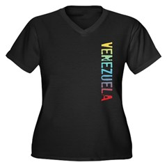 Venezuela Women's Plus Size V-Neck Dark T-Shirt