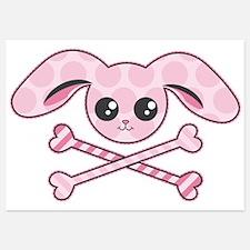 Pink Bunny Skull Invitations