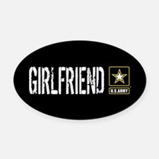 U.S. Army: Girlfriend (Black) Oval Car Magnet
