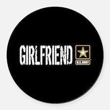 U.S. Army: Girlfriend (Black) Round Car Magnet