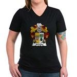 Arregui Family Crest Women's V-Neck Dark T-Shirt