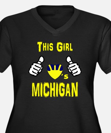Cute Wolverines Women's Plus Size V-Neck Dark T-Shirt
