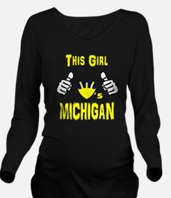 Cute Funny michigan Long Sleeve Maternity T-Shirt