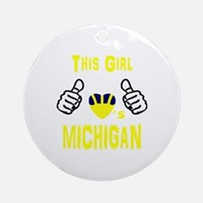 Cute Michigan wolverines Round Ornament