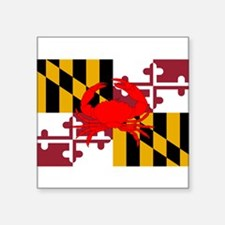 "Cool Maryland flag crab Square Sticker 3"" x 3"""